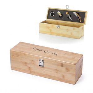 Caja vino personalizada con 4 accesorios
