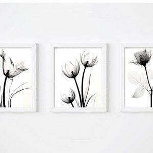 Tríptico de flores negras.