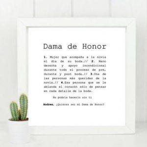 Cuadro para testigos, Damas de Honor, Madrina y Padrino de Boda. Incluye marco