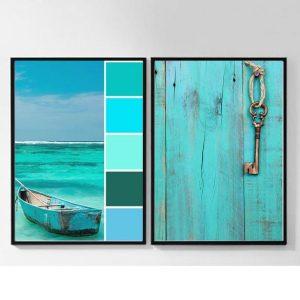 Cuadro decorativo para hogar. Díptico. Modelo descanso en el mar.