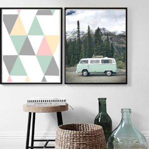 Cuadro decorativo para hogar. Díptico. Modelo caravana + geometría.