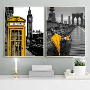 Cuadro decorativo para hogar. Díptico. Modelo amarillo.