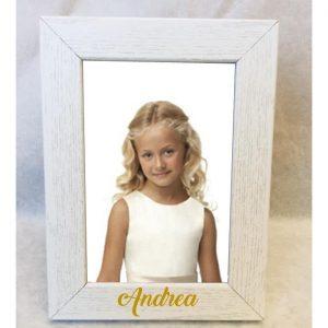 Porta fotos blanco de madera, personalizado.